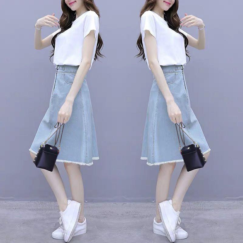 Chân Váy Denim Lưng Cao Thoáng Khí Thời Trang Mùa Hè Hàn Quốc 2020