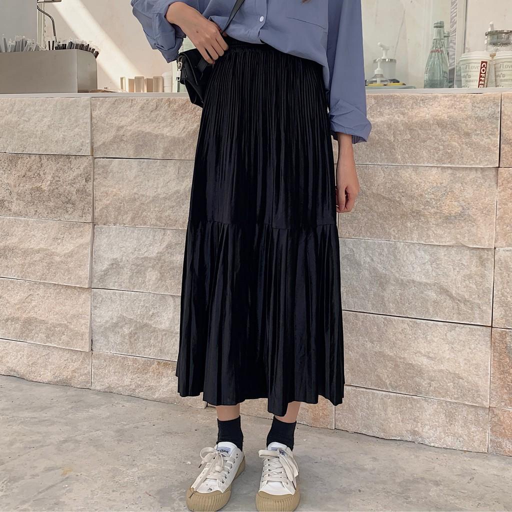 Chân Váy Lưng Cao Xếp Ly Xinh Xắn Dành Cho Nữ / 80-200kg