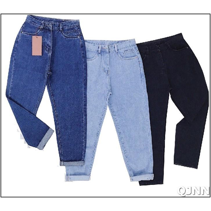 Quần jean nữ BAGGY nhiều màu ( XANH - ĐEN ) TRƠN A01-1