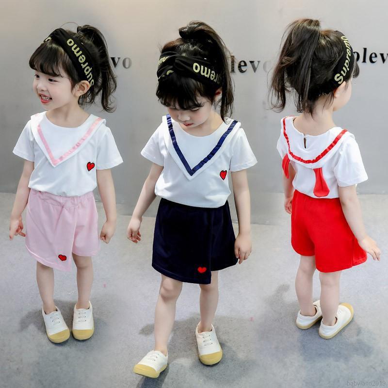Bộ áo thun ngắn tay in họa tiết trái tim + chân váy cho bé gái