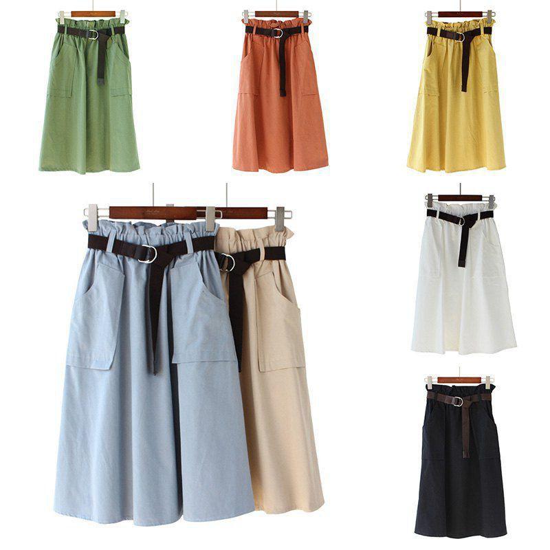 Chân váy dài lưng thun màu trơn phong cách vintage cho nữ