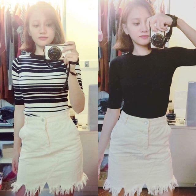 Chân váy jean trắng mango