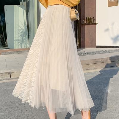 Chân Váy Lưới Xếp Ly Lưng Cao Thời Trang 2020 Cho Nữ