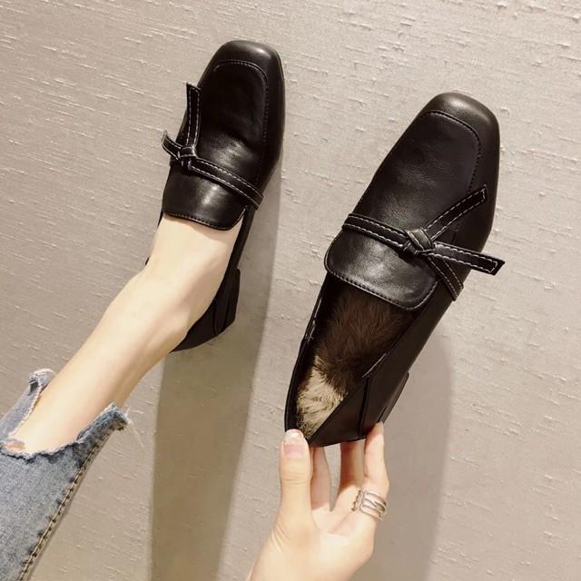 (Order 5-7 ngày) Giày báic lót lông mũi vuông đế vuông 2cm