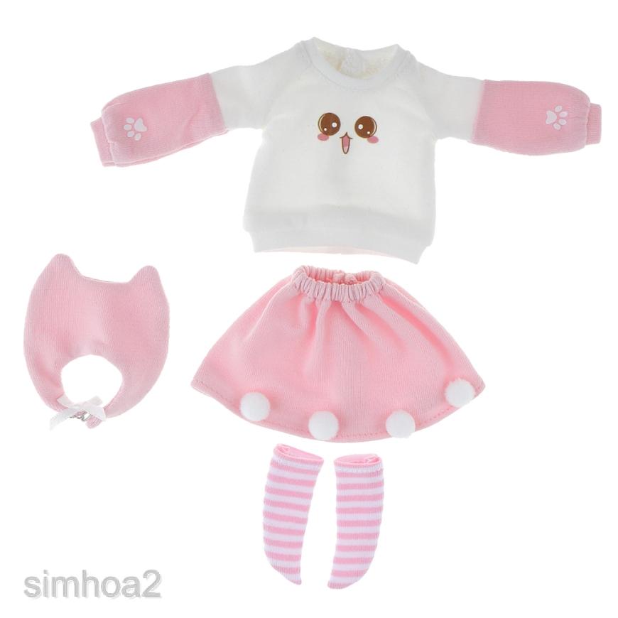 Set áo hình mặt mèo + chân váy mini + vớ tỷ lệ 1/6 cho búp bê 12'' Neo Blythe