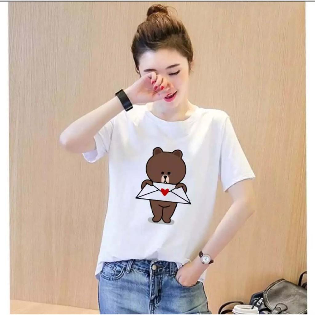 áo thun nữ Hàn Quốc in hình Gấu Thư Tình dễ thương, vải dày mịn mát
