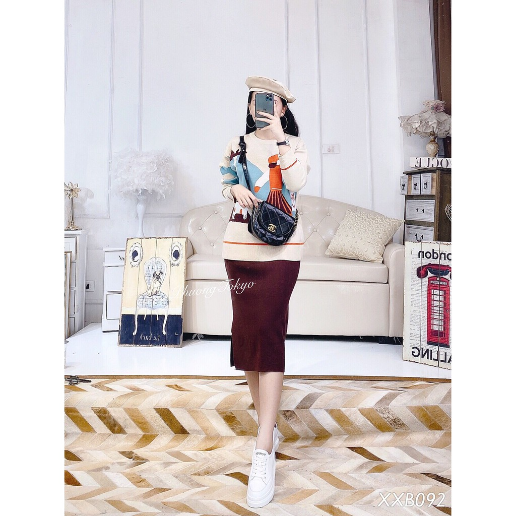 Set áo len và chân váy len PHUONGTOKYO XXB092