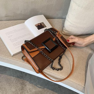 Messenger Bag 2020 New Fashion Small Square Bag Square Buckle Chain Bag Hit Color Female Durable Fashion Comfortable Mes