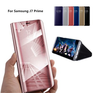 For Samsung J7 Prime/On7 2016 Flip Clear View Mirror Phone Case