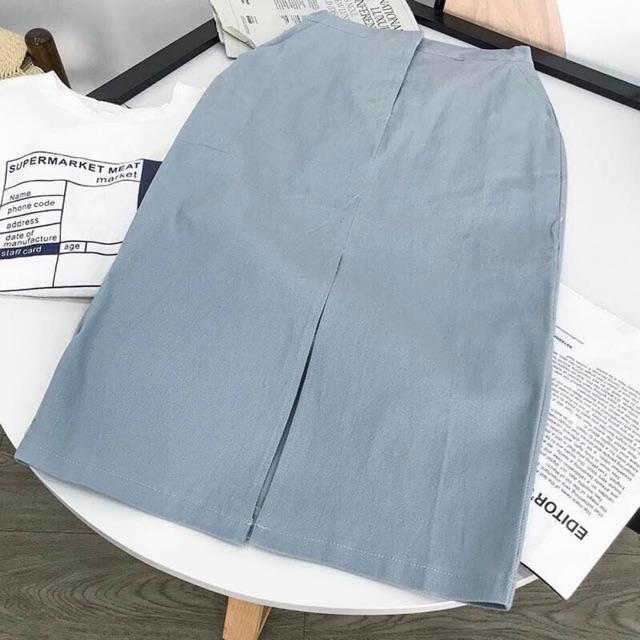 Chân váy A kaki xanh 2 túi