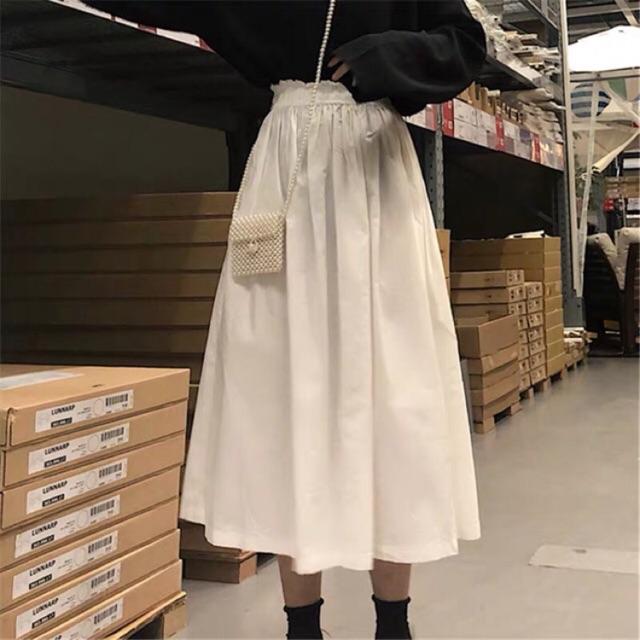 Chân váy dài trắng xoè hai lớp Ulzzang (video)