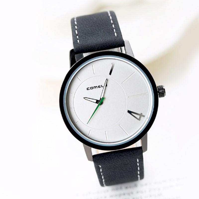 Đồng hồ nam Comely dây da đen mặt trắng