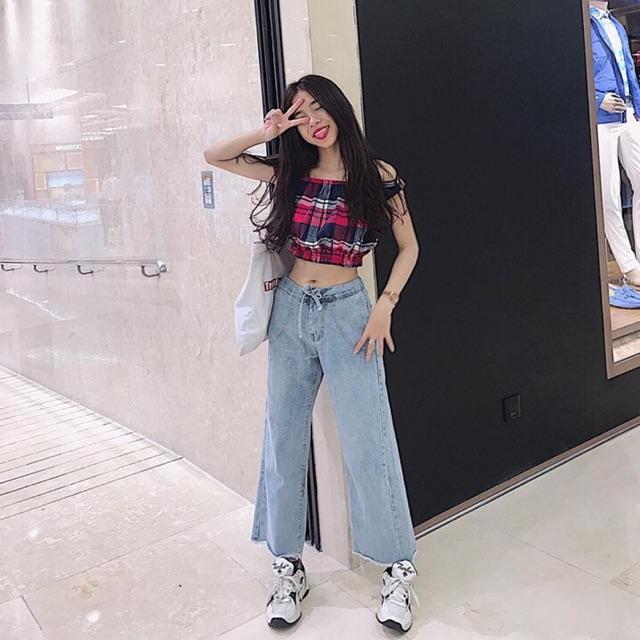 Thời Trang Trất ⚡️Quần Jeans Ống Rộng Rút Eo - 246