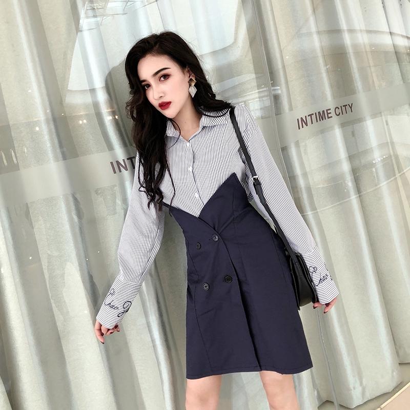 set áo sơ mi tay dài+chân váy sọc thời trang dành cho nữ