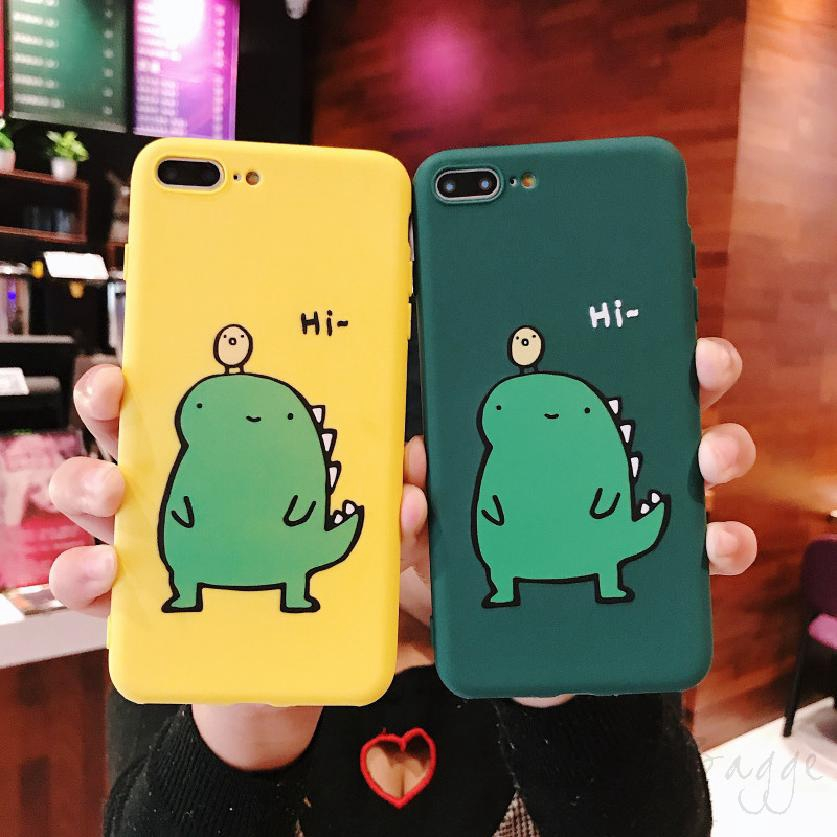 COD Iphone Cartoon Yellow Green Dinosaur X Xs Xr Xs Max 8 7 6 6sp Protection Phone 573