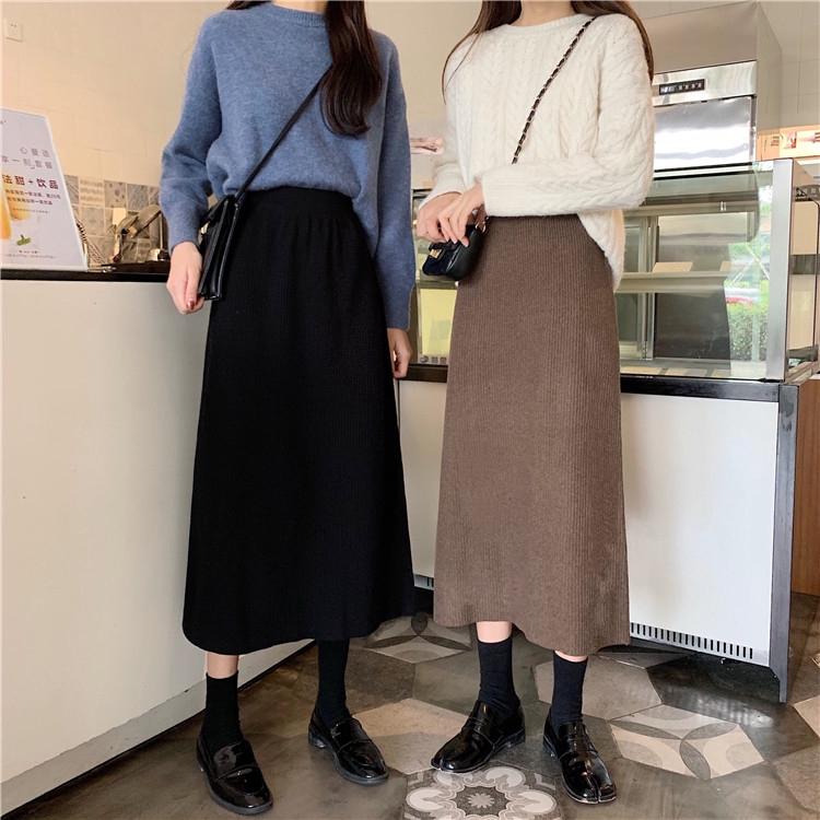 Chân Váy Dệt Kim Lưng Cao Phong Cách Hàn Quốc Dễ Phối Đồ Cho Nữ
