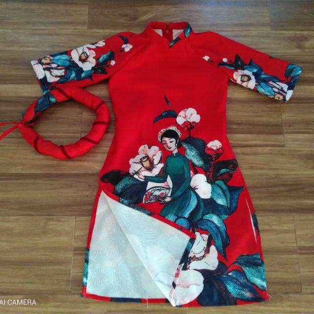 02 sét áo dài cách tân cho bé gồm 2 mấn 2 váy hoặc quần 2 Áo dài chấ liệu vải gấm cúc hà hàng nhà may cam kết chất lượng