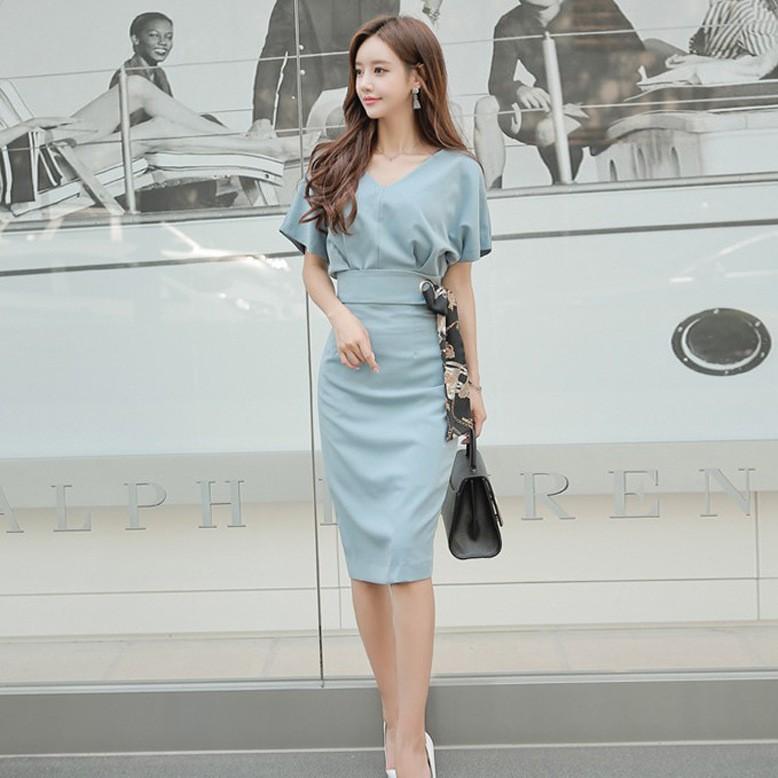 Bộ Áo Sơ Mi Ngắn Tay + Chân Váy Ôm Dáng Xinh Xắn Theo Phong Cách Hàn Quốc Dành Cho Nữ 2019