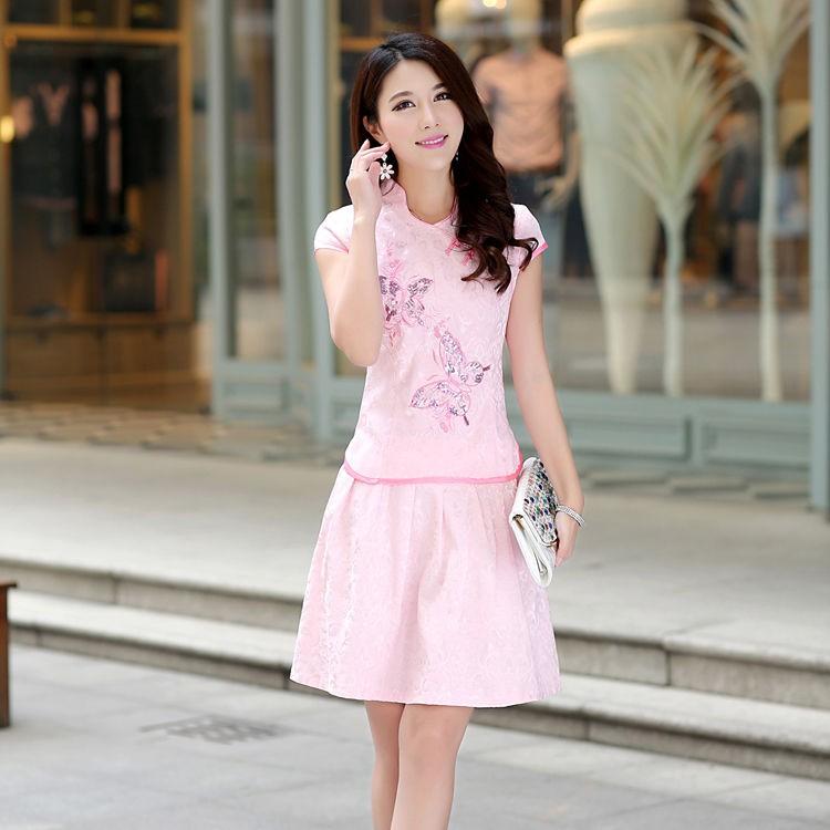 Bộ Áo Sườn Xám Ngắn Tay + Chân Váy Xinh Xắn Dành Cho Nữ 2019