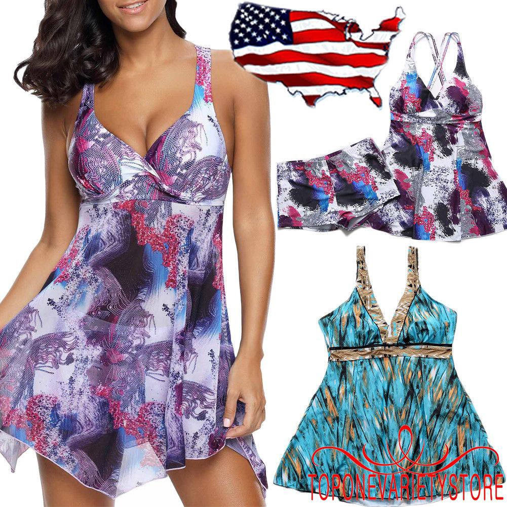 Đồ bơi 2 mảnh thiết kế in họa tiết áo 2 dây thiết kế đầm + quần sọt lưng cao cho nữ