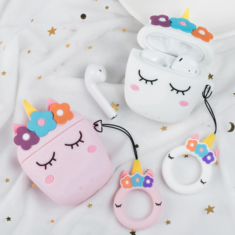 Bluetooth Headset Case For Apple Airpods 1 2 Cute Unicorn Wireless Earphone Silicone Cover With Ring
