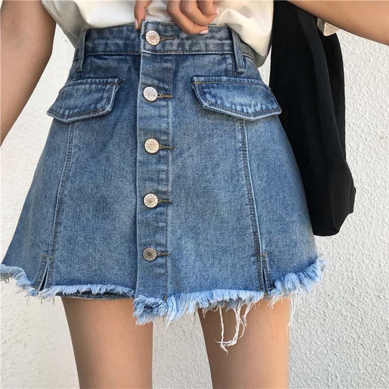 Đầm Váy, chân váy jeans nhiều nút