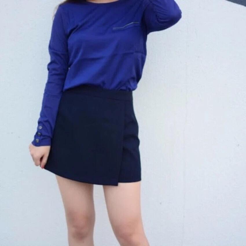 Áo Thun khóa ngực 1 màu xanh