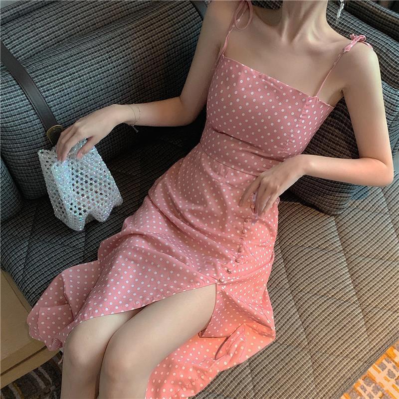 Set Áo Hai Dây Họa Tiết Chấm Bi Và Chân Váy Midi Lưng Cao Phong Cách Retro