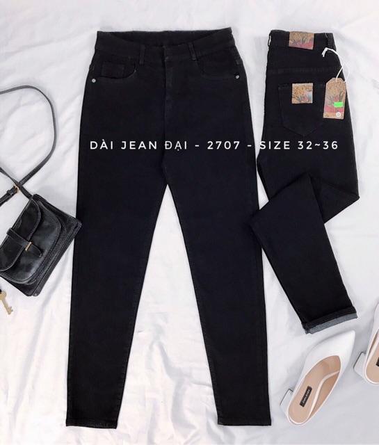 Quần jean nữ size đại lưng cao co dãn màu đen