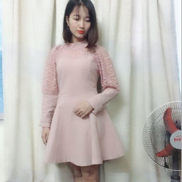 Váy dạ quảng châu tay ren