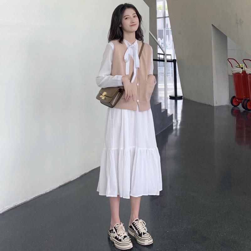 Set Áo Sơ Mi Tay Dài Phối Chân Váy Thời Trang Mùa Xuân Hàn Quốc