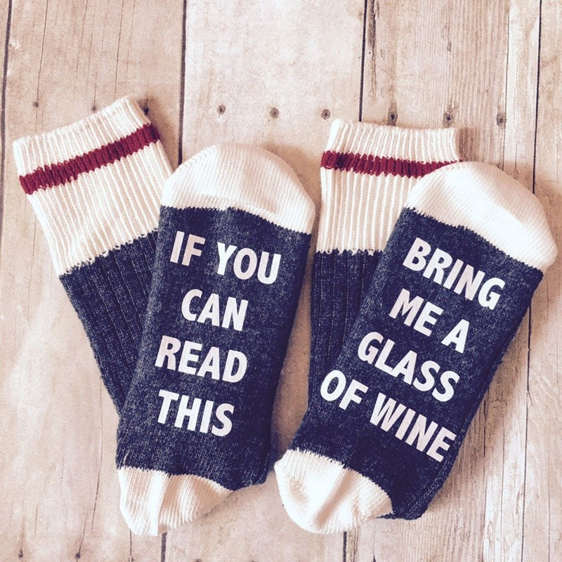 Hình ảnh ღ𝓂ℰCustom wine socks If You can read this Bring Me a Glass of Wine gray, Black, red
