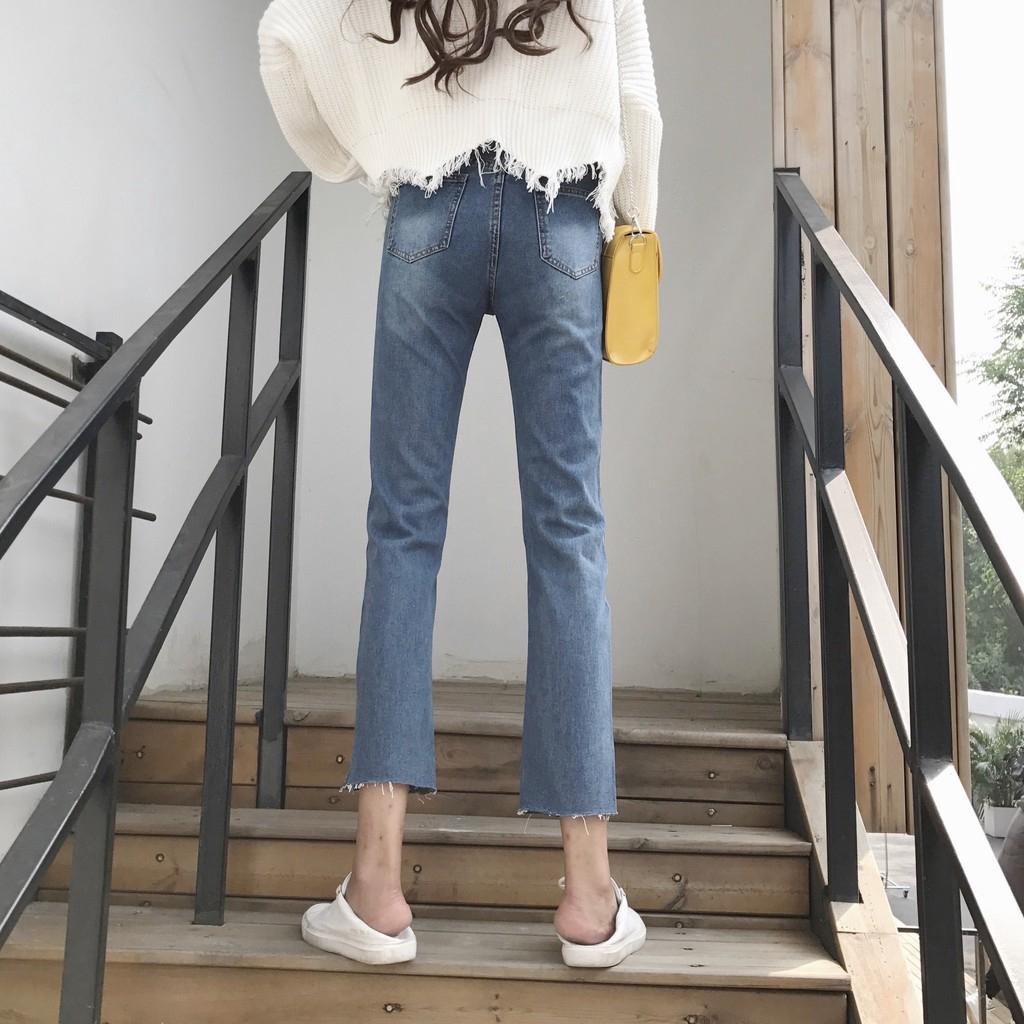 Quần Jeans Nữ 9 Tấc Lưng Cao Ống Rộng Thời Trang Hàn