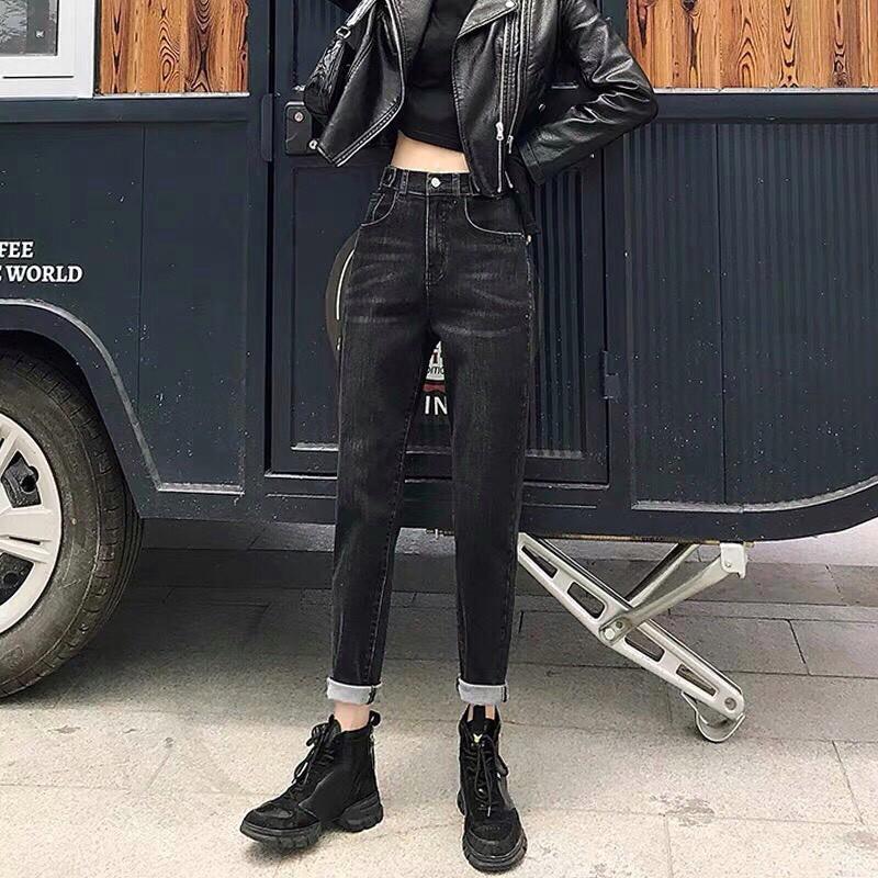 Quần jean 9 tất bigsize lưng cao co dãn màu đen - quần bò 9 tất size đại lưng cao co dãn màu đen [mayfashionofficial]