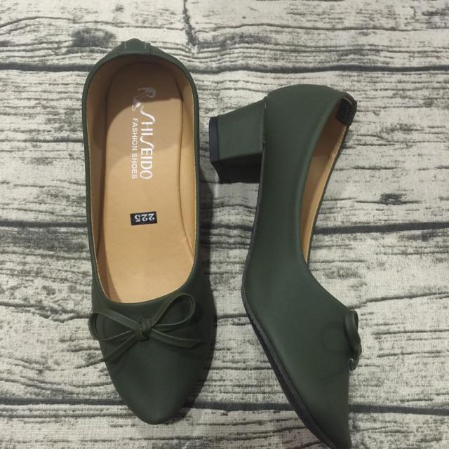 Giày gót vuông xanh rêu nơ nhuyễn