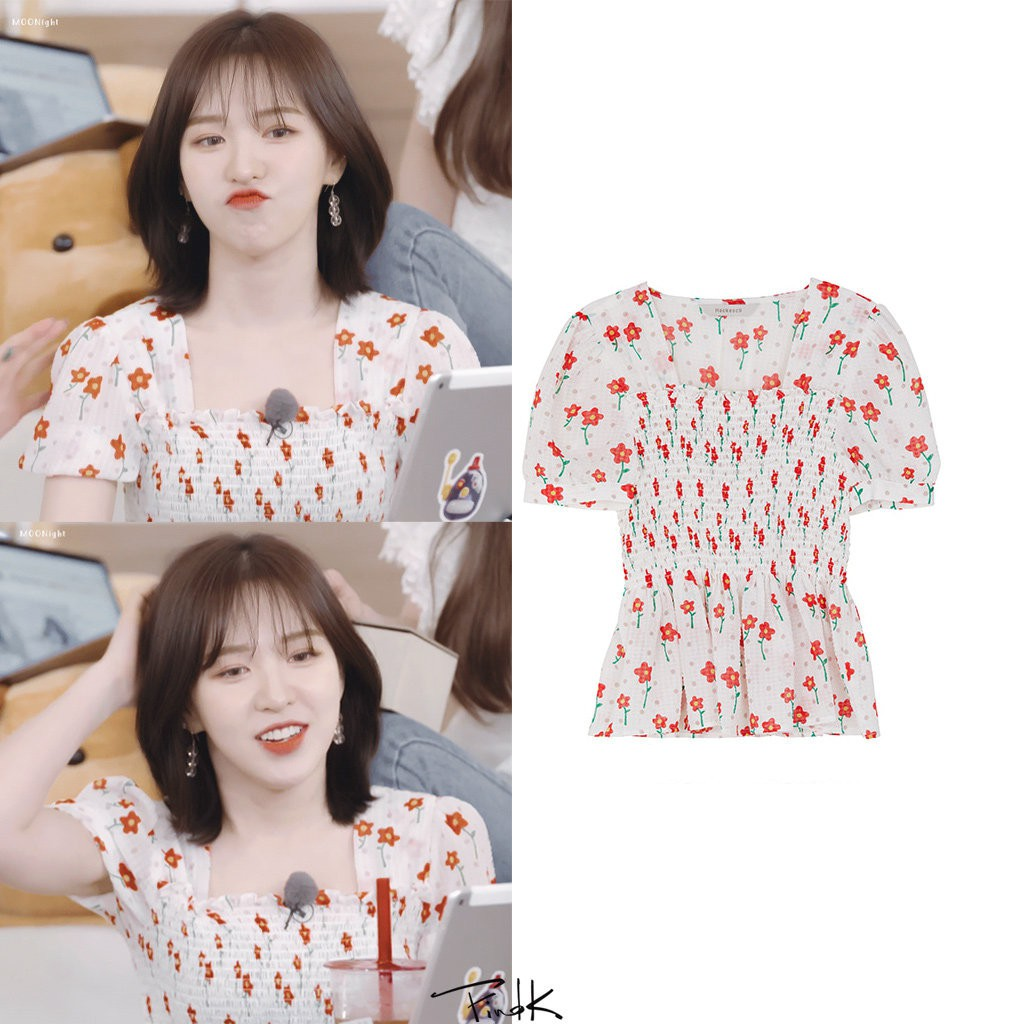 áo thun nữ Red Velvet wendy vintage hoa short sleeve crop top