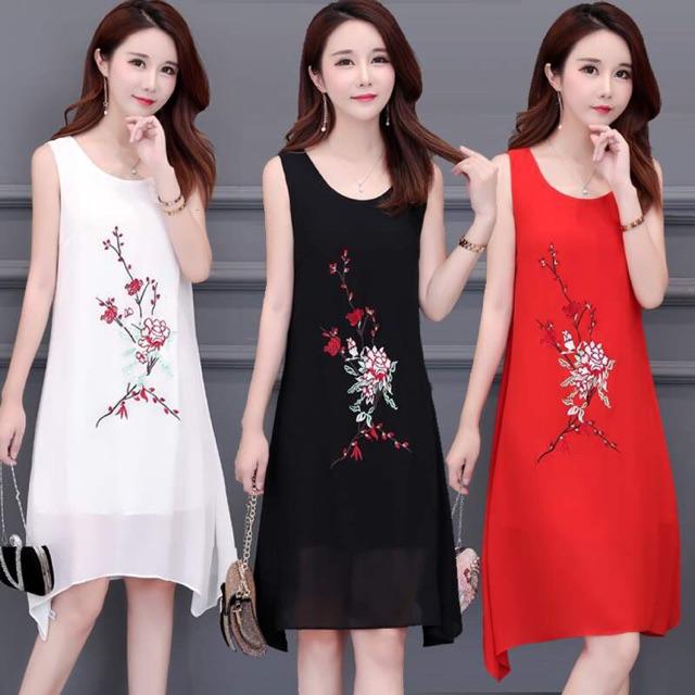 Váy đầm trung niên nữ thêu hoa