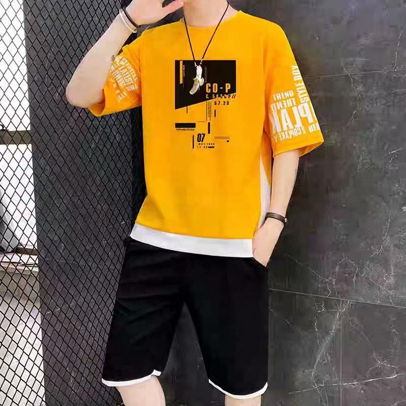 Bộ quần áo thun nam C0-P màu vàng