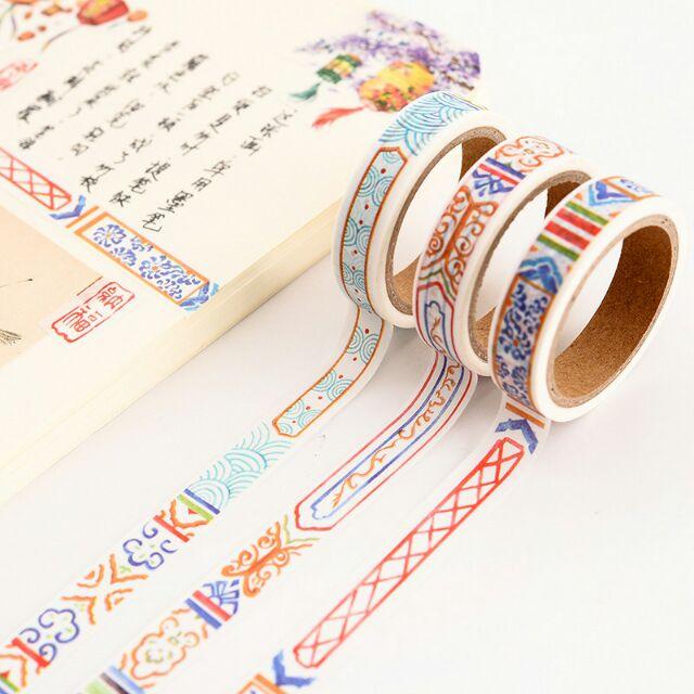 Băng dính 5m, băng keo giấy màu trang trí đường diềm