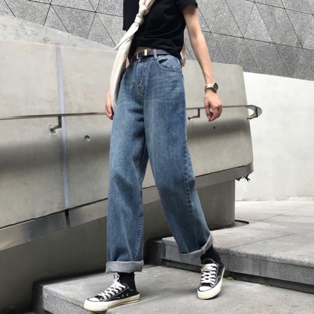 Quần jeans suông đậm