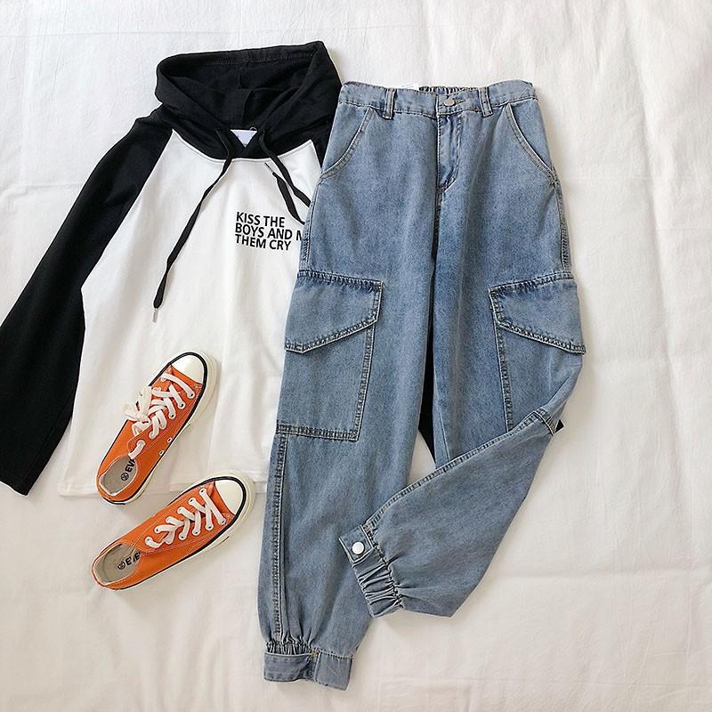 Quần jeans dài lưng thun phối túi thời trang cho nữ