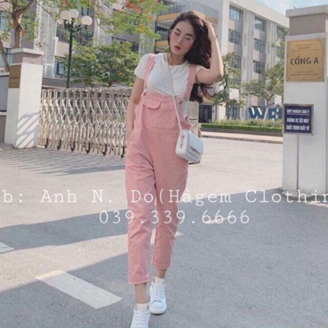 Set yếm hồng nữ quần dài kaki, áo thun trắng,VIDEO + HÌNH FEEDBACK, SẴN HÀNG