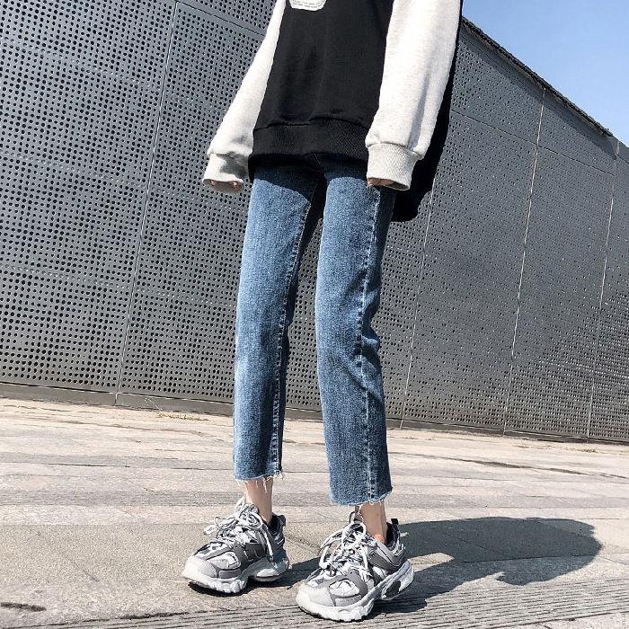 Quần Jeans Đen Lưng Cao Ống Đứng Thời Trang Cho Nữ
