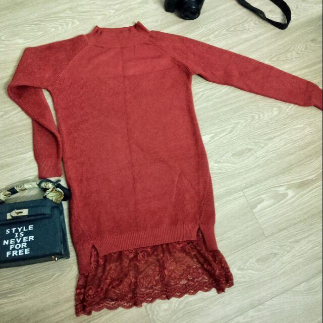 Đầm len chân váy phối ren cao cấp