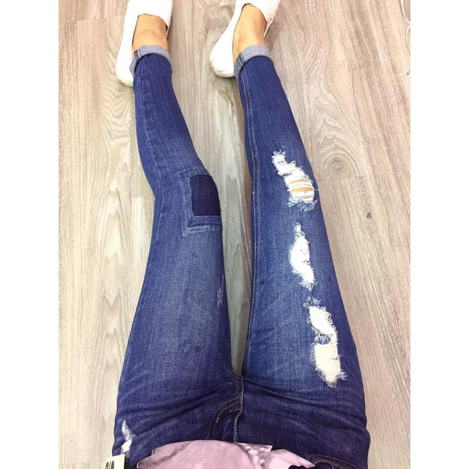 (sale)quần jeans ôm vá ô rách