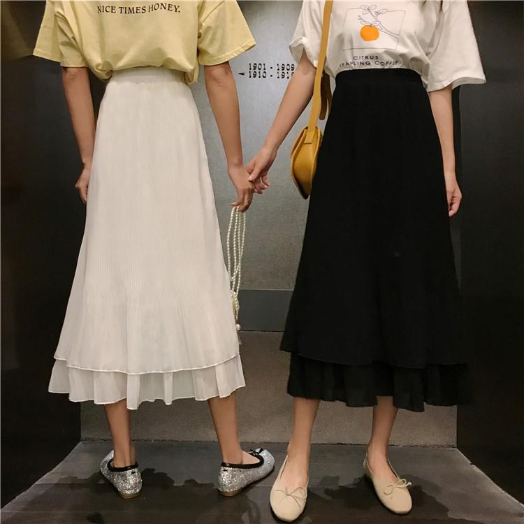 Chân váy dài xếp li Slim A-line hot trend 2020