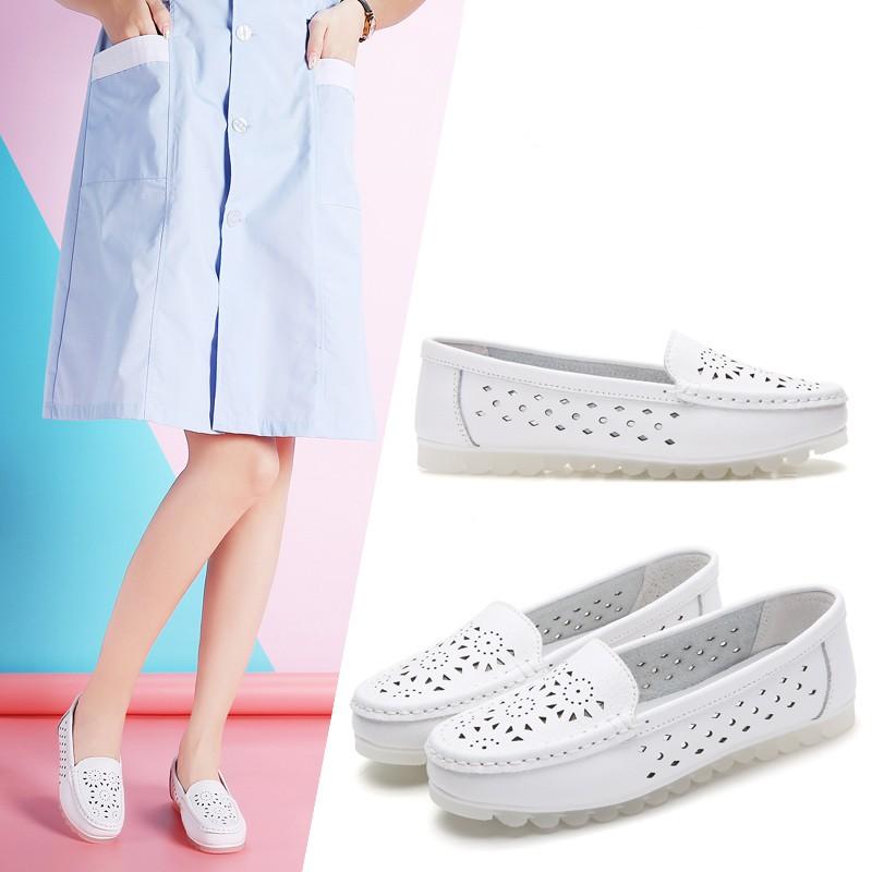 Giày nữ mùa hè Size:35-40 Giày thường Giày đế bằng Giày y tá Giày lười Loafers