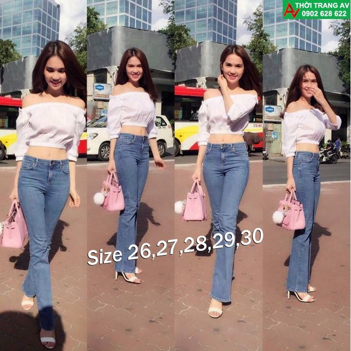 Quần jean nữ lưng cao ống loe xinh xắn giống Ngọc Trinh - AV5397