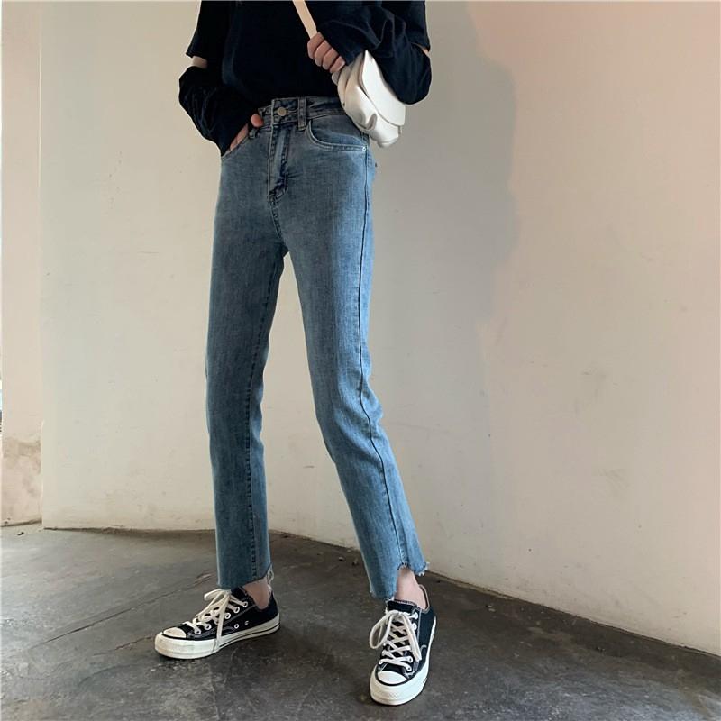 Quần jeans nữ lưng cao phong cách Hàn Quốc