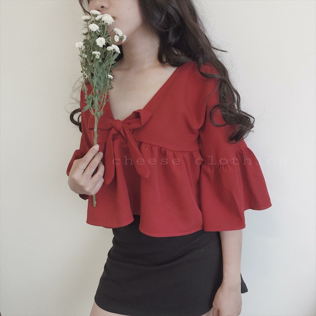 Áo babydoll đỏ tay loe (HÌNH THẬT 100%)